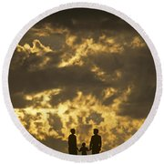 Family On Hillside Holding Hands And Facing Life Together. Round Beach Towel