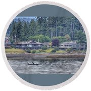 Family Outing - Orcas Round Beach Towel by Randy Hall