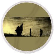 Family Paddle Round Beach Towel