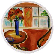 Family Room Corner Round Beach Towel