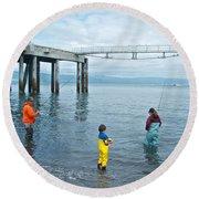 Family Surf Fishing In Kachemak Bay Off Homer Spit-ak Round Beach Towel