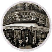 Famous Cafe De Flore - Paris Round Beach Towel by Carlos Alkmin