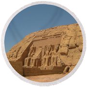 Famous Egyptian Landmarks Round Beach Towel
