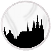 famous landmarks of Prague Round Beach Towel