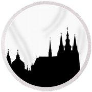 famous landmarks of Prague Round Beach Towel