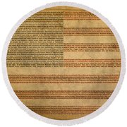 Famous Patriotic Quotes American Flag Word Art Round Beach Towel