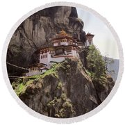 Famous Tigers Nest Monastery Of Bhutan 12 Round Beach Towel