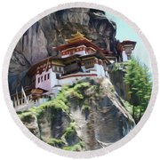 Famous Tigers Nest Monastery Of Bhutan 7 Round Beach Towel