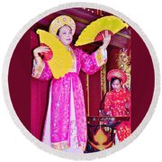 Fan Dancer And Monochord Player In Court Music Show At Citadel Of Nguyen Dynasty In Hue-vietnam Round Beach Towel