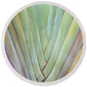 Fan Palm Abstract 2 Round Beach Towel