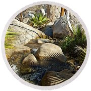 Fan Palm Leaves And Shadows Over Andreas Creek Rocks In Indian Canyons-ca Round Beach Towel