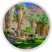 Fan Palms By The Creek In Lower Palm Canyon In Indian Canyons Near Palm Springs-california Round Beach Towel