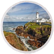 Fanad Lighthouse Donegal Ireland Round Beach Towel