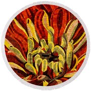 Fanciful Bold Floral Mosaic Round Beach Towel