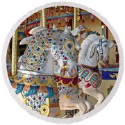 Fanciful Carousel Ponies Round Beach Towel
