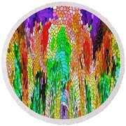 Fanciful Colors  Abstract Mosaic Round Beach Towel