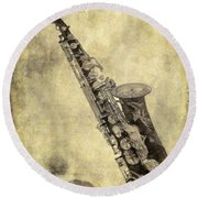 Fancy Antique Saxophone In Pastel Round Beach Towel