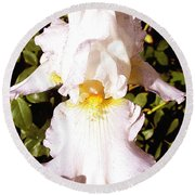 Fancy Lady White Iris Round Beach Towel