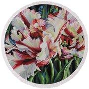 Fancy Parrot Tulips Round Beach Towel