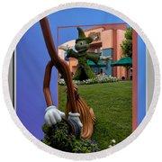 Fantasia Mickey And Broom Floral Walt Disney World Hollywood Studios Round Beach Towel