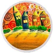 Fantasy Art - The Village Festival Round Beach Towel
