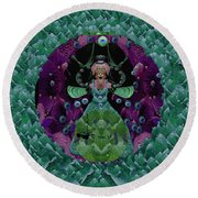 Fantasy Cat Fairy Lady On A Date With Yoda. Round Beach Towel