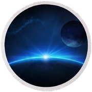 Fantasy Earth And Moon With Sunrise Round Beach Towel by Johan Swanepoel