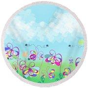 Fantasy Flower Garden - Childrens Digital Art Round Beach Towel