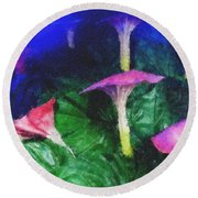 Fantasy Flowers Pastel Chalk 2 Round Beach Towel