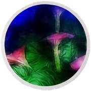 Fantasy Flowers Traveling Pigments Hp Round Beach Towel