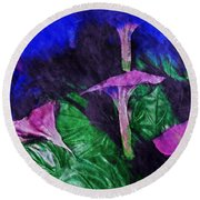 Fantasy Flowers Watercolor 2 Hp Round Beach Towel