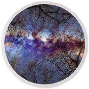 Fantasy Stars Milkyway Through The Trees Round Beach Towel