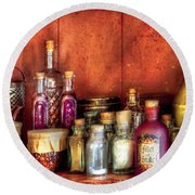 Fantasy - Wizard's Ingredients Round Beach Towel by Mike Savad