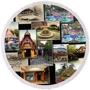 Fantasyland Disneyland Collage Round Beach Towel