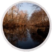 Far Mill River Reflects Round Beach Towel