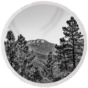 Far Side Of The Mountain Round Beach Towel