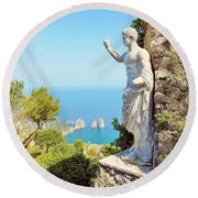 Faraglioni Rocks From Mt Solaro Capri Round Beach Towel