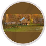 Farm At Sunrise Round Beach Towel