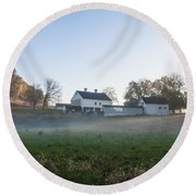 Farm At Valley Forge In Morning Round Beach Towel
