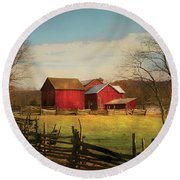 Farm - Barn - Just Up The Path Round Beach Towel by Mike Savad