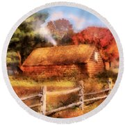 Farm - Barn - Our Cabin Round Beach Towel by Mike Savad