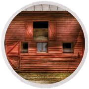 Farm - Barn - Visiting The Farm Round Beach Towel by Mike Savad