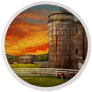 Farm - Barn - Welcome To The Farm  Round Beach Towel by Mike Savad