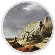 Farm Buildings In A Landscape, C.1625-28 Round Beach Towel