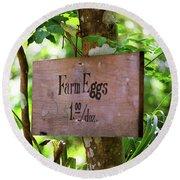 Farm Eggs Round Beach Towel