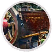 Farm Equipment - New Holland Feed And Cob Mill Round Beach Towel by Paul Ward