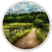 Farm - Fence - Every Journey Starts With A Path  Round Beach Towel
