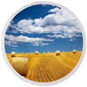 Farm Field With Hay Bales Round Beach Towel