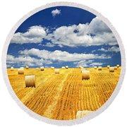 Farm Field With Hay Bales In Saskatchewan Round Beach Towel