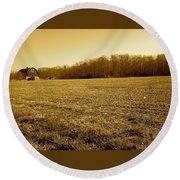 Farm Field With Old Barn In Sepia Round Beach Towel